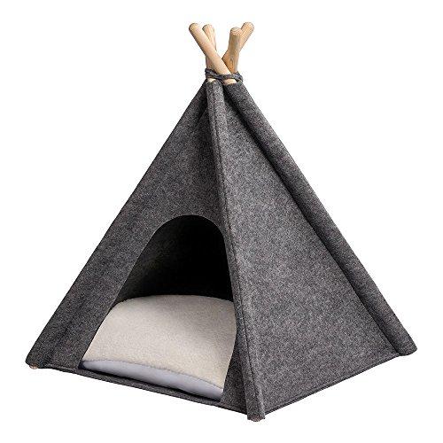 MYANIMALY Tipi Zelt für Haustiere, Katzenzelt, Haustierbett, Haustierhütte für Hunde und Katzen mit beidseitig anwendbarem Kissen, Gestell aus Kiefernholz (60 x 60 cm, Grau/Ecru)