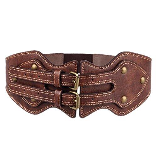 Cinturón elástico ancho Cinturón Vintage Dual Metal Aguja hebilla mujeres Cintura Band 86cm