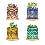 FairyLavie Macetas Pequeñas para Plantas de Cerámica de 7CM, Plantador para Suculentas con Patrón de Mandala, Tiesto de Flores con Bandeja de Bambú, Conjunto de 4PCS