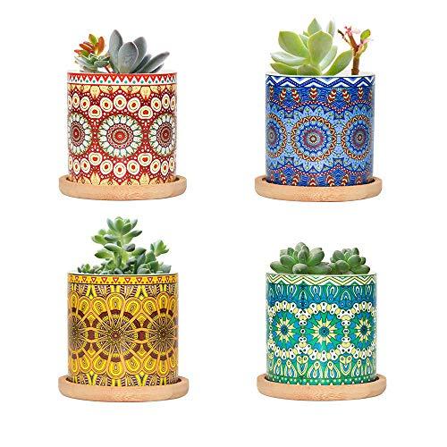 FairyLavie 7 cm små keramiska växtkrukor, Mandala mönster suckulent växtkruka blomkruka med bambuskål, perfekt för hemmakontorsdekoration för familjevänner kollega, 1 paket med 4