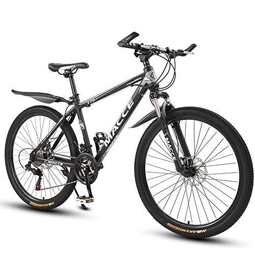 26 Zoll Mountainbike, Scheibenbremsen Hardtail MTB, Trekkingrad Herren Bike Mädchen-Fahrrad, Vollfederung Mountain Bike, 27 Speed,Schwarz,Spoke wheel