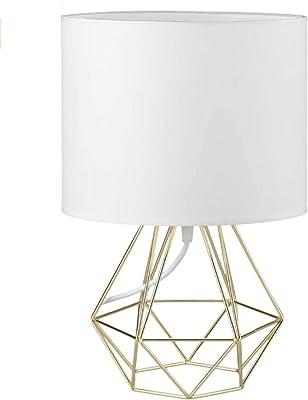FRIDEKO HOME Mini lampe de table vintage – 21 cm DIY Lampe de table moderne style panier style créatif pour chambre à coucher, chevet, bureau, blanc et or
