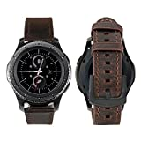 iBazal 20mm Cinturino Pelle Rilascio Rapido Cinturini Cuoio Bracciale Compatibile con Samsung Galaxy Watch 42mm/Active 40mm/Gear Sport/Gear S2 Classic/Huawei Watch 2/Ticwatch 2/E - Caffè