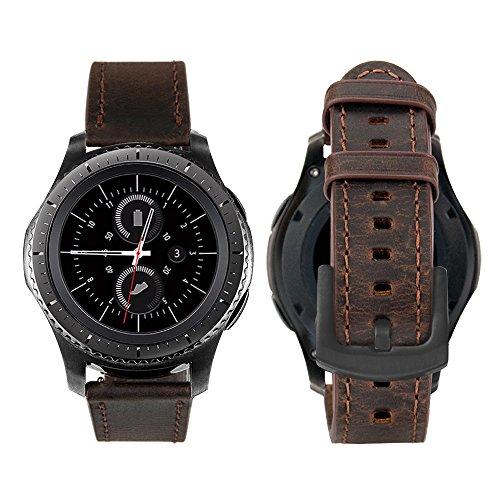 iBazal Gear S2 Classic Cinturino Pelle 20mm Banda Compatibile con Samsung Galaxy Watch 3 41mm/Galaxy Watch 42mm/Active 40mm/Huawei Watch 2/Gear Sport/Ticwatch 2/E (Orologio Non Incluso) - Caffè