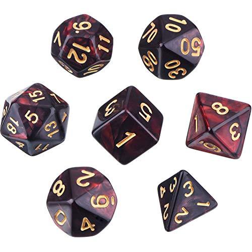 MUCHEN SHOP Dados Poliédricos Set,7 Piezas Dados poliédricos para DND MTG RPG Mazmorras y Dragones para Fiestas Juegos de Mesa de reunión Familiar D4 D6 D8 D10 D12 D20(Negro Rojo)