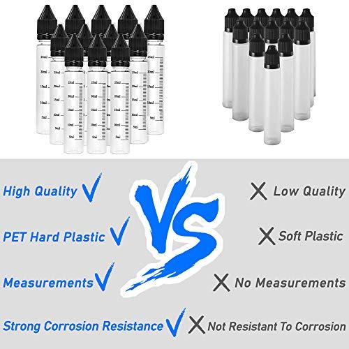VEEAPE Soft PET Plastic Unicorn Bottles with Measurements, 30ml Portable Dropper Bottle with Childproof Cap & Long Thin Tip for juice or liquid (12 pcs + 6 Funnels)