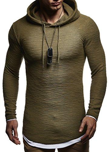 Leif Nelson Sudadera de Hombre con Capucha suéter de la Capilla LN-8120 Caqui Medium