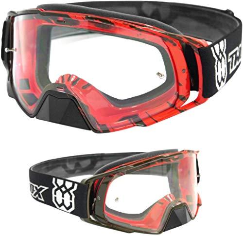 TWO-X Rocket Crossbrille Crush schwarz rot klar MX Brille Motocross Enduro Klarglas Motorradbrille Schutzbrille mit Nasenschutz Anti Scratch Fast Change