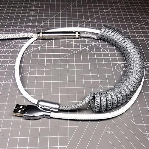 Cable en espiral USB tipo C de 1 m, hecho a mano, cable desmontable en espiral para teclado mecánico de juegos, iluminación RGB + cable DIY