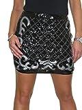 ICE Falda Lápiz Elástica Brillante Brillante para Mujer, Minifalda Ajustada con Lentejuelas Fiesta De Navidad Discotecas Plata 36-42