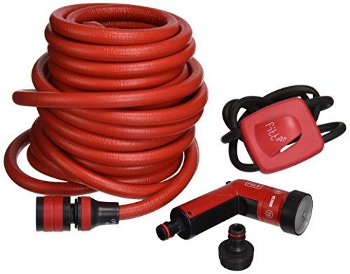 FITT YOYO UP Flexibler Gartenschlauch für professionelle Bewässerung mit Haken für Geländer und Zäune, Multifunktions-Wasserpistole, Rot, 25 m