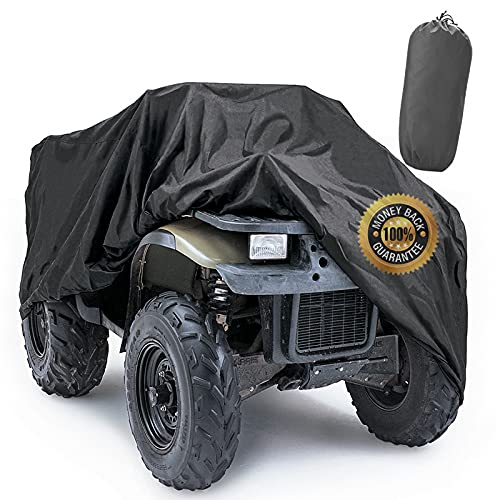 Angooni ATV Covers Outdoor Storage Waterproof, 300D Heavy Duty 4 Wheeler Cover Fit All Weather - Universal Size