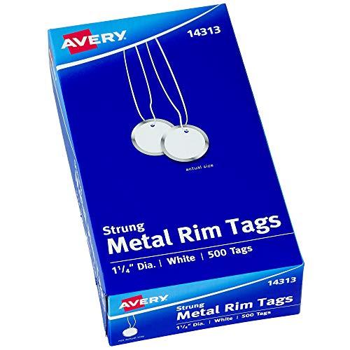 Avery Metal Rim Key Tags, 1.25' Diameter Tag, Includes Strings, White, 500 Tags (14313)