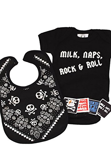 Milk, Naps, Rock & Roll Baby Set de regalo/divertida bolsa de regalo para niños o niñas, bolsa de regalo para bebé/Cool Baby Shower Idea negro Talla:0-3 Meses