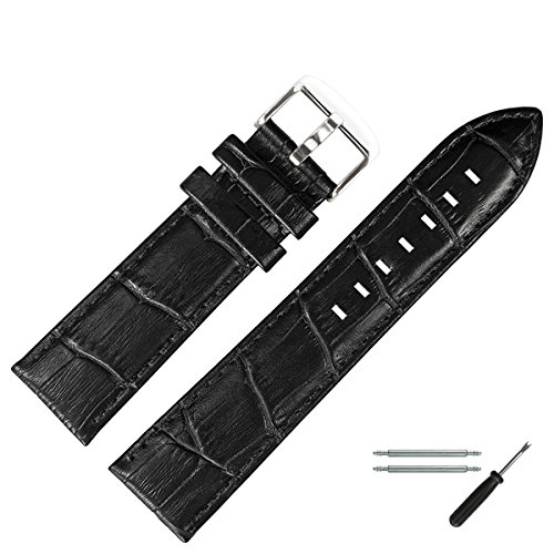 MARBURGER Uhrenarmband 22mm Leder Schwarz Alligator - Werkzeug Montage Set 7892210000120