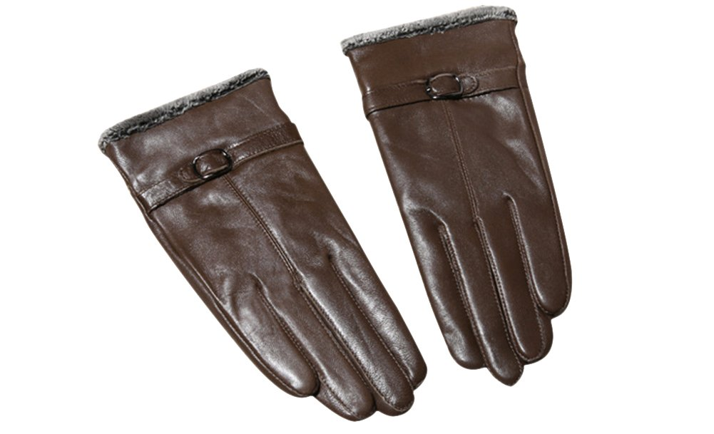 ieasysexy Women's Retro Winter Gloves,Warm Leather Wool Driving Gloves(Brown)