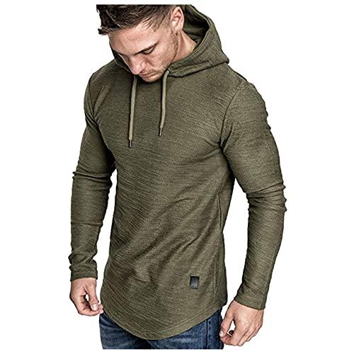 Camiseta de manga larga con capucha para hombre, de verano, de piel mixta, con dobladillo irregular, blusa Verde militar. XXL