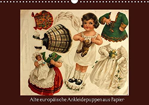 Alte europäische Ankleidepuppen aus Papier (Wandkalender 2022 DIN A3 quer)