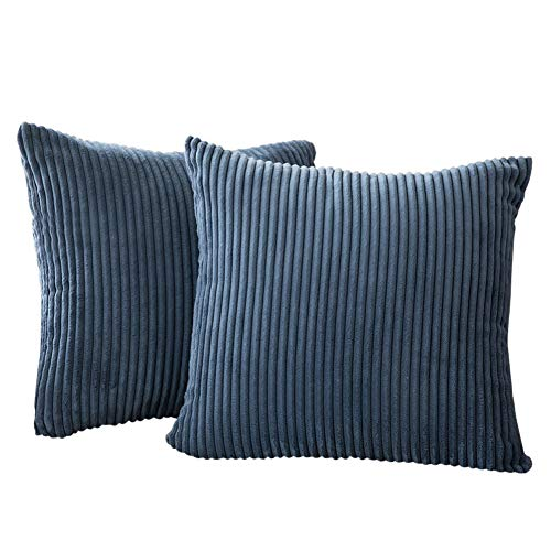 Generic Brands New Solid Pillow Covers Soft Corduroy Cushion Case Home Decorative Square Throw Pillow for Couch Cover Sofa Bedroom Car (Blue, 45x45cm)