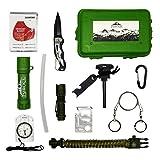 Kit supervivencia montaña Kit de supervivencia profesional | Navaja multiusos Pedernal supervivencia | Bushcraft Vivac Acampada | Filtro potabilizador de agua portátil | Manta térmica supervivencia