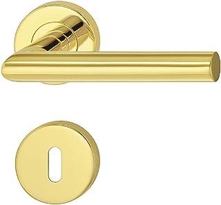 JUVA Design deurbeslag roestvrij staal klinkgarnituur op ronde rozet voor kamerdeuren - LDH 2171 | BB - bonte baard | mess...