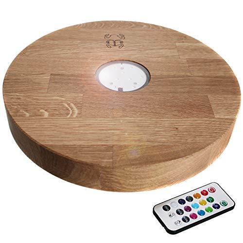 Kaya Leewadee - Platillo led (30 cm, madera de roble)