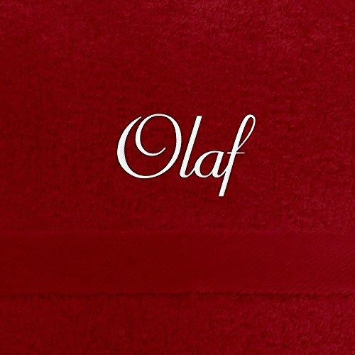 Handtuch mit Namen Olaf bestickt, 50x100 cm, rot, extra flauschige 550 g/qm Baumwolle (100%), Badetuch mit Namen besticken, Duschtuch mit Bestickung