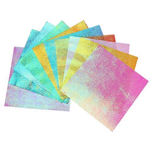 VALICLUD 100 Piezas Papel de Origami Cuadrado Papel Iridiscente Color Del Arco Iris Brillo Papel Plegable para Grúa Estrellas Aviones Artes Artesanía Niños