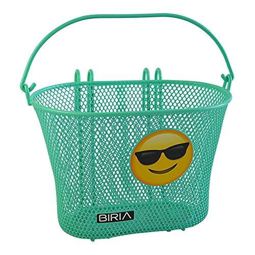 Biria Korb mit Haken Grün Sonnenbrille Emoji-Vorne, Abnehmbar, Drahtgeflecht Kleinen, Kinder-Fahrradkorb, grün emoj
