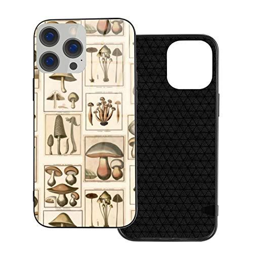 Funda protectora para teléfono móvil con diseño de setas estilo vintage y parte trasera de cristal templado y parachoques de TPU suave compatible con iPhone 12/iPhone 12 Pro