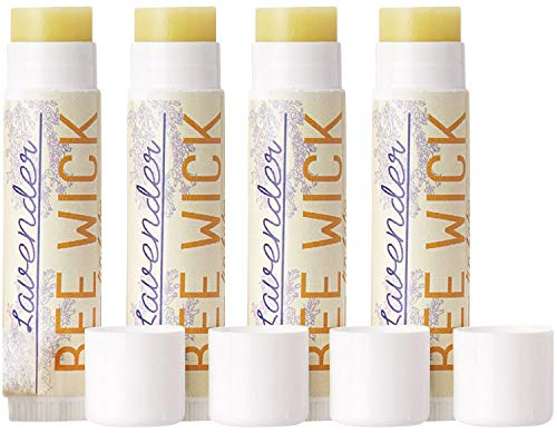 Bee Wick Lip Balm- 4 Pack- Hemp Lip Balm Made with Beeswax and Hemp Seed Oil (Lavender (Pack of 4)) [Packaging May Vary]