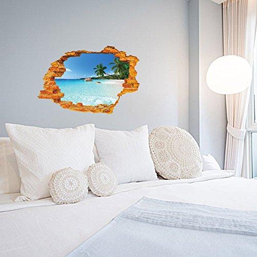 WandSticker4U- 3D Wandtattoo: Urlaubsinsel I 50x70 cm I Meer Strand Ozean Palme Mauer Insel Urlaub Himmel Landschaft I Wandbild Poster Deko Fototapete für Wohnzimmer Schlafzimmer Badezimmer Küche