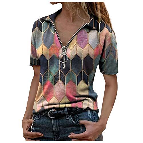 Women Zipper Letter Print Short Sleeve Top Casual V-neck Blouse Shirts Slim Fit Tee Tunics