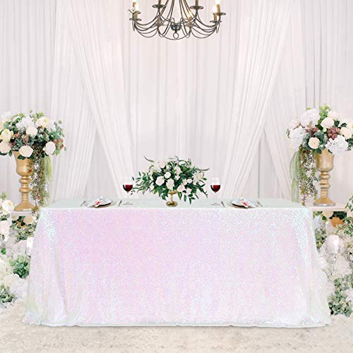 Rectangular Sequin Tablecloth 90 x 132 inch Sparkly Patio Table Covers for Spring Party Wedding Baby Shower Table Decoration Rose Gold