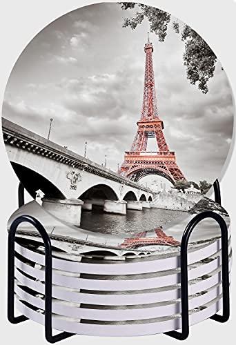 GUVICINIR Set di 6 sottobicchieri per bevande,Colorazione selettiva monocromatica della Torre Eiffel,Sottobicchieri assorbenti con supporto,Regalo di Inaugurazione Della Casa