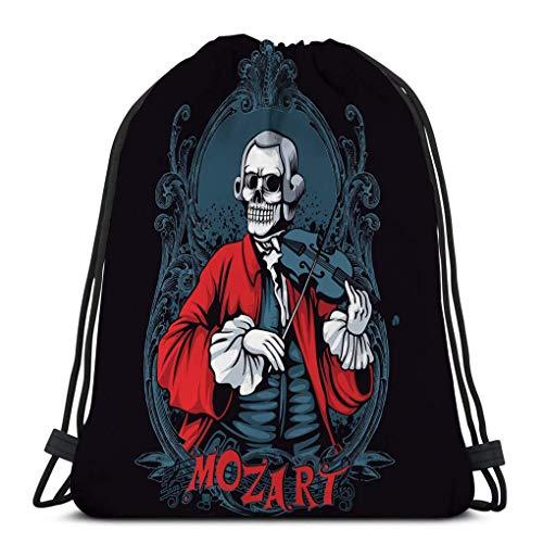 Joaffba Mochila con cordón de Gran Capacidad Mozart Skeleton Classic Music t Poster Mochila Deportiva fácil de Llevar