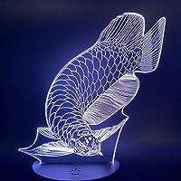 MQJ 3Dイリュージョンランプledナイトライトベビーベッドルームかわいい魚7 Usbカラーテーブルランプの変更のベスト誕生日の休日の贈り物