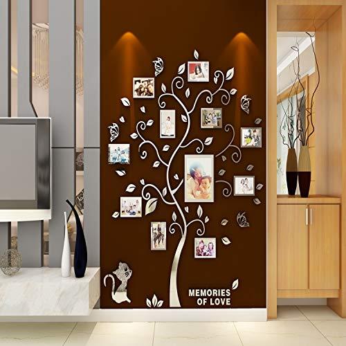 Asvert Adesivo Murale Albero Acrilico 3D Adesivo Murale Facile da Installare e Applicare Adesivo Decorativo Fai da te Decorazioni per la casa. Foglie Blu con Cornici a Sinistra. Gattino d'argento.