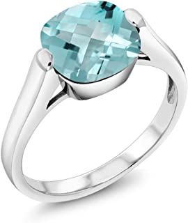 Gem Stone King 4.65 Ct Cushion Checkerboard Sky Blue Topaz 925 Sterling Silver Ring (Available 5,6,7,8,9)