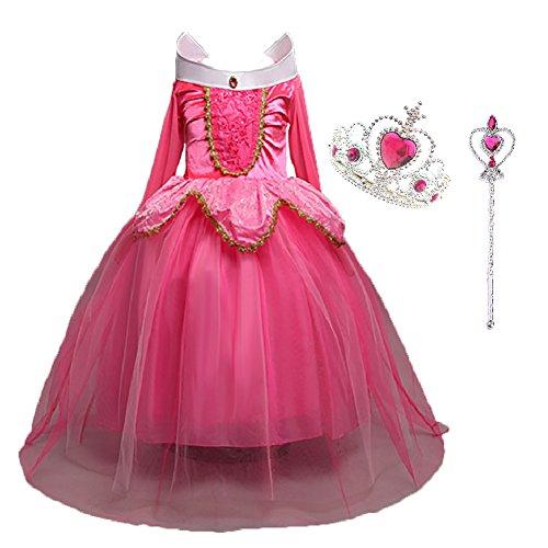 LiUiMiY Costumi Bambina Principessa Vestito Carnevale Lunga Manica Tulle Diadema Cosplay Festa Nuziale Compleanno Carnevale Abito per Ragazze