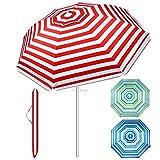 SUNYPLAY Beach Umbrella,7ft Beach Umbrella with Sand Anchor&Tilt Aluminum Pole,Portable UV 50+ Protection Sun Shelter with Carry Bag for Patio Garden Beach Outdoor (Red/White, 7ft)