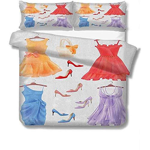 Jonycm 3-delig beddengoed set hakken en jurken groot van feestelijke kleding voor partij mode vrouwelijke Cocktail jurken op Hanger mode 3-delige beddengoed set met 2 kussensloop Unisex beddengoed Duv
