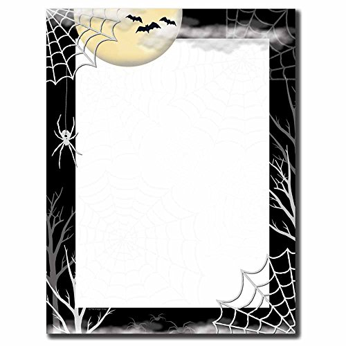 Image Shop Creepy Web Halloween Letterhead Laser & Inkjet Printer Paper (100pk),Black, White, Yellow