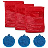 3 Pack of Microwave Potato Bag Kit, with 3PCS Silicone Vegetable Scrubber Brush, Reusable Baked Potato Pouch and Multipurpose Silicone Dish Sponge (Blue)