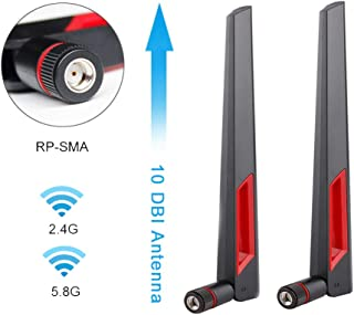 COVVY WiFi Antenna 10 DB Dual-Band 2.4G 5G 5.8G High Gain with RP SMA Male Connector for Wireless Network Router/Access Po...