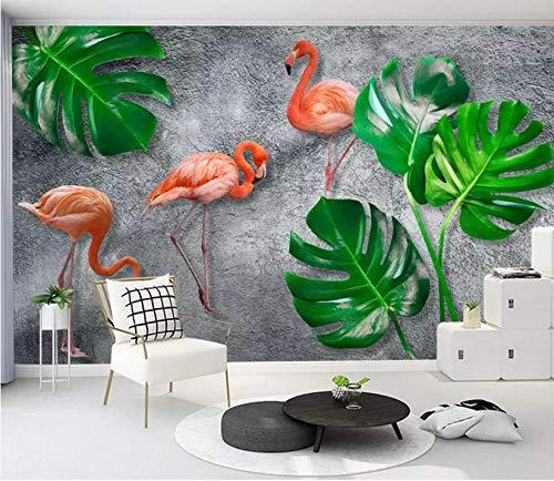 Fototapete Tapeten Wandbilder 3D Kleine Frische Tropische Regenwald Bananenblatt Flamingo Wandbild Hintergrund Wand (2) Tapete Wandtapeten Für Schlafzimmer Wohnzimmer Büro (W) 500X(H) 280Cm