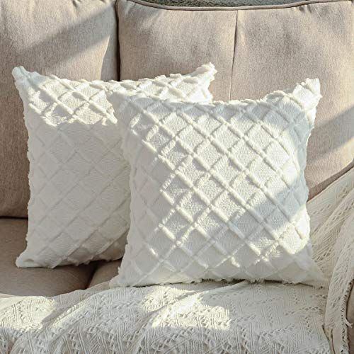DEELAND Pack of 2 Decorative Throw Pillow Covers Textured Knitted Short Wool Velvet Plush Pillowcase Cushion Covers for Sofa Couch Bedroom