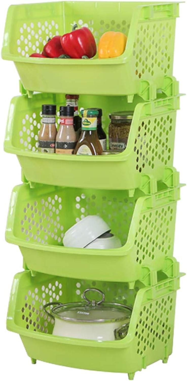 4 Tier Plastic Stacking Vegetable Food Kitchen Storage Rack Stand Basket (color   Green)
