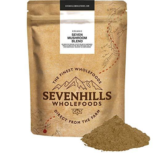 Sevenhills Wholefoods Bio 7 Pilz Pulver Mischung 500g, Reishi, Chaga, Shiitake, Maitake, Löwenmähne, Cordyceps & Tremella