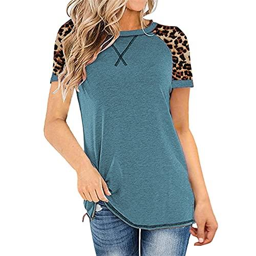Tops con Estampado de Leopardo para Mujer Camiseta de Manga